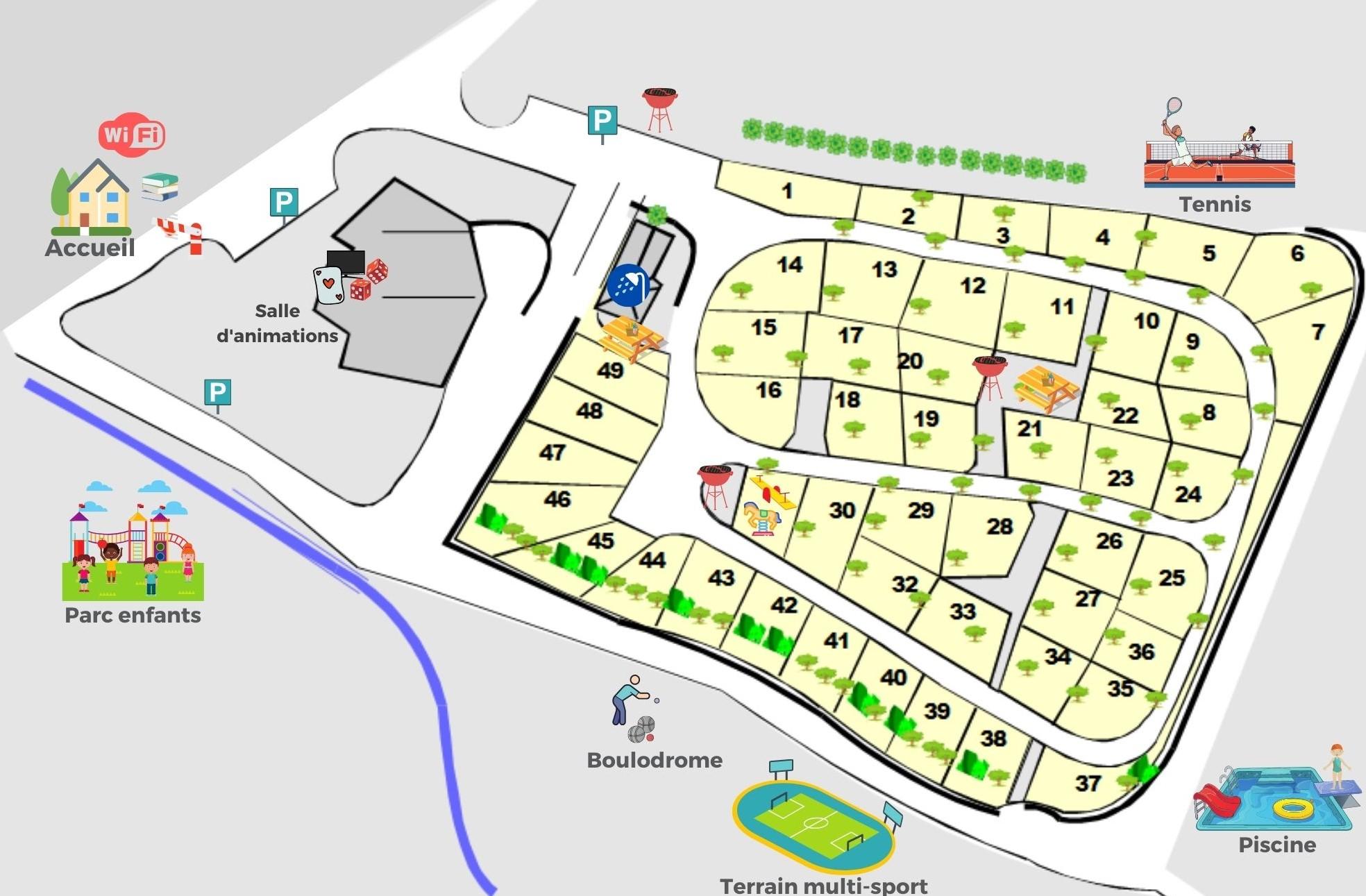 Plan du camping de Chanac